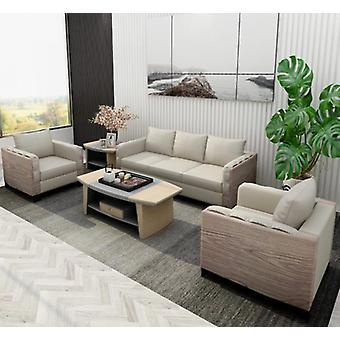 Elegante moderne lederen zitplaatsen grote bank, houten salontafel voor kantoor, thuis