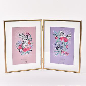"""Frida Gold Effect Double Aperture Fold Out Frame 4"""" x 6"""""""