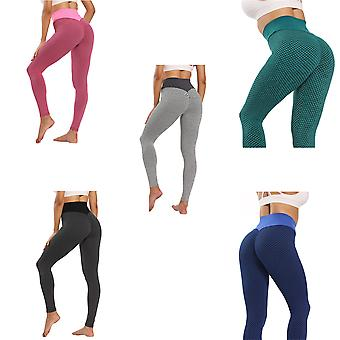 European And American Yoga Clothes Women's High Waist Peach Buttocks Thin Honeycomb Jacquard Bubble Bottoming Yoga Pants Multi-Color Matching