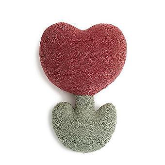 Nuttet tulipanblomst blød pude bamse fløjlsdekoration sofa behagelig pude (rød)