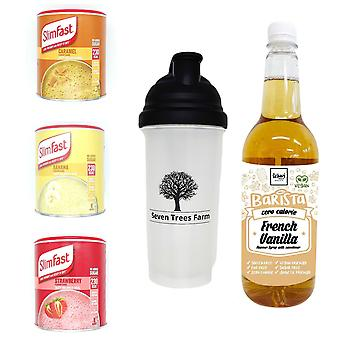 Seven Trees Farm Kit with 5 products | 1 x Caramel, 1 x Banana, 1 x Strawberry Shakes, 1 x Shaker and 1 x French Vanilla Syrup, Be skinny and healthy!