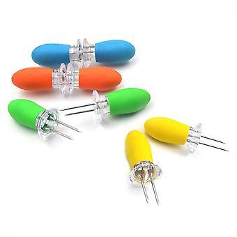 Majshållare, 8st rostfritt stål majskolvspett för bbq twin prong sockermajshållare hem matlagning gaffel (4 färger)