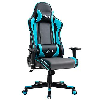 Vinsetto Gaming Chair Racing Style Ergonomic Office Chair High Back Computer Desk Chair Adjustable Height Swivel Recliner with Headrest and Lumbar Support, Sky Blue