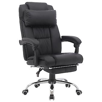 Executive PU Leather Swivel Task Chair with Armrests Lumbar Support with Footrest