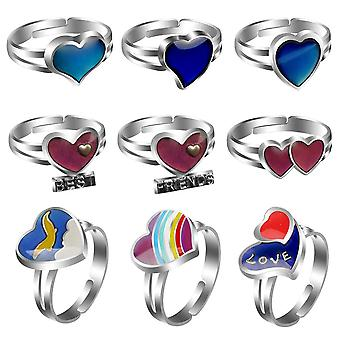 Heart-shaped Peach Heart Gemstone Temperature Change Color Love Couple Ring Ring Christmas Gift Ring 9 Piece Set
