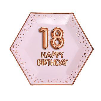 Glitz & Glamour Pink & Rose Gold Plate - Suuri - Ikä 18