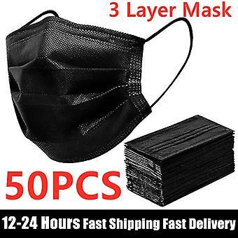 Auf Lager 50pcs Maske Einweg-Gesichtsmaske Schwarz Nicht gewebt 3 Schichten Mundmaske Filter Anti Staub Atmungsaktive Schutzmasken für Erwachsene