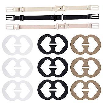 6 pièces Sangles de soutien-gorge antidérapantes Support élastique réglable avec clips de soutien-gorge
