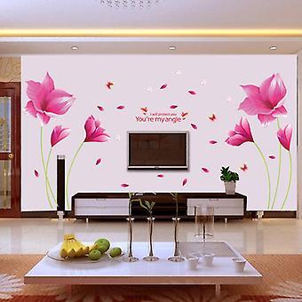 Różowy Orchid Naklejka ścienna Ściana Sztuka Dekoracja domu Sypialnia Tapeta