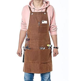 Leather Carpentry Apron, Heavy Duty Work Apron With 6 Tool Pockets Welding Apron For Men Women Heat Resistant Flame Reta
