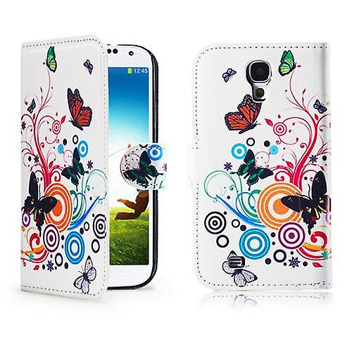 Design Book PU Leather Case Cover for Samsung Galaxy S4 i9500 - Colour Butterfly