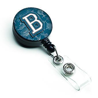Litera B morze Doodles początkowe alfabet chowany odznaka bębnowa