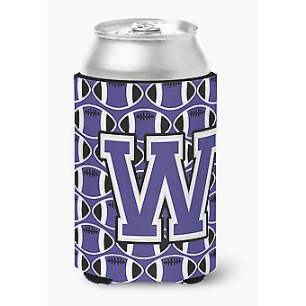 Letter W Football Purple and White Can or Bottle Hugger