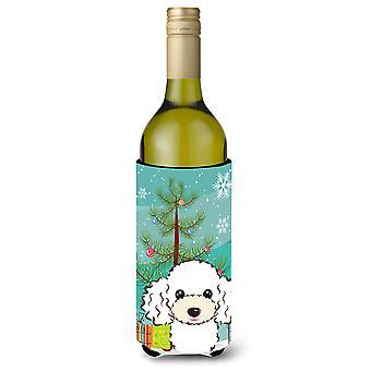 Juletræ og hvide puddel vinflaske drik isolator Hugger