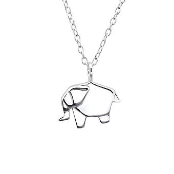 Origami Elephant - 925 Sterling Silver Plain Necklaces - W25819x