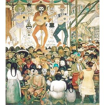 דיה דה Muertos 1924 פוסטר הדפסה על ידי דייגו ריברה (24 x 33)