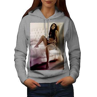Girl Underwear Hot Sexy Women GreyHoodie | Wellcoda
