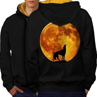Suden luonto kuu eläinten miesten musta (Gold Hood) kontrasti huppari takaisin | Wellcoda