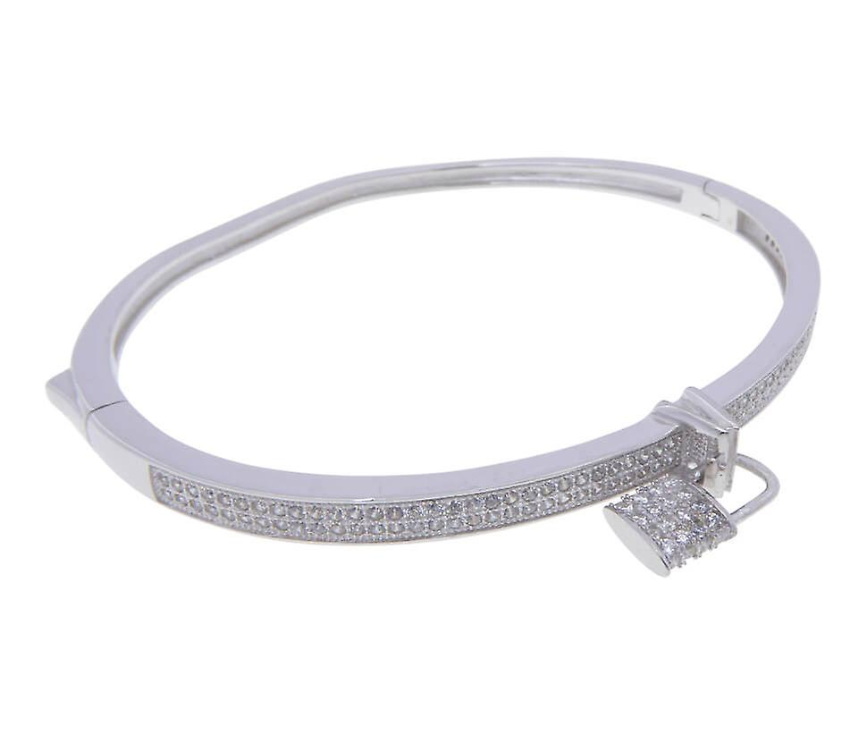 Silver cubic zirconia bracelet with lock