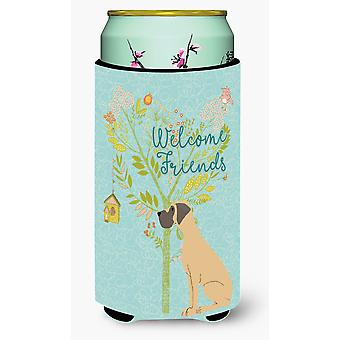 Welcome Friends Fawn Great Dane Natural Ears Tall Boy Beverage Insulator Hugger