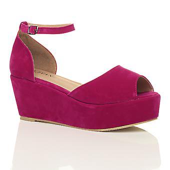 Ajvani dame lav midten hæl blok kile platform flatform sandaler sko