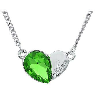 Womens hjärta Silver och grön hänge halsband Crystal sten BG1632