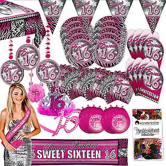 Festa do pacote 16 doce dezesseis rosa 63-teilig para 8 convidados festa aniversário conjunto
