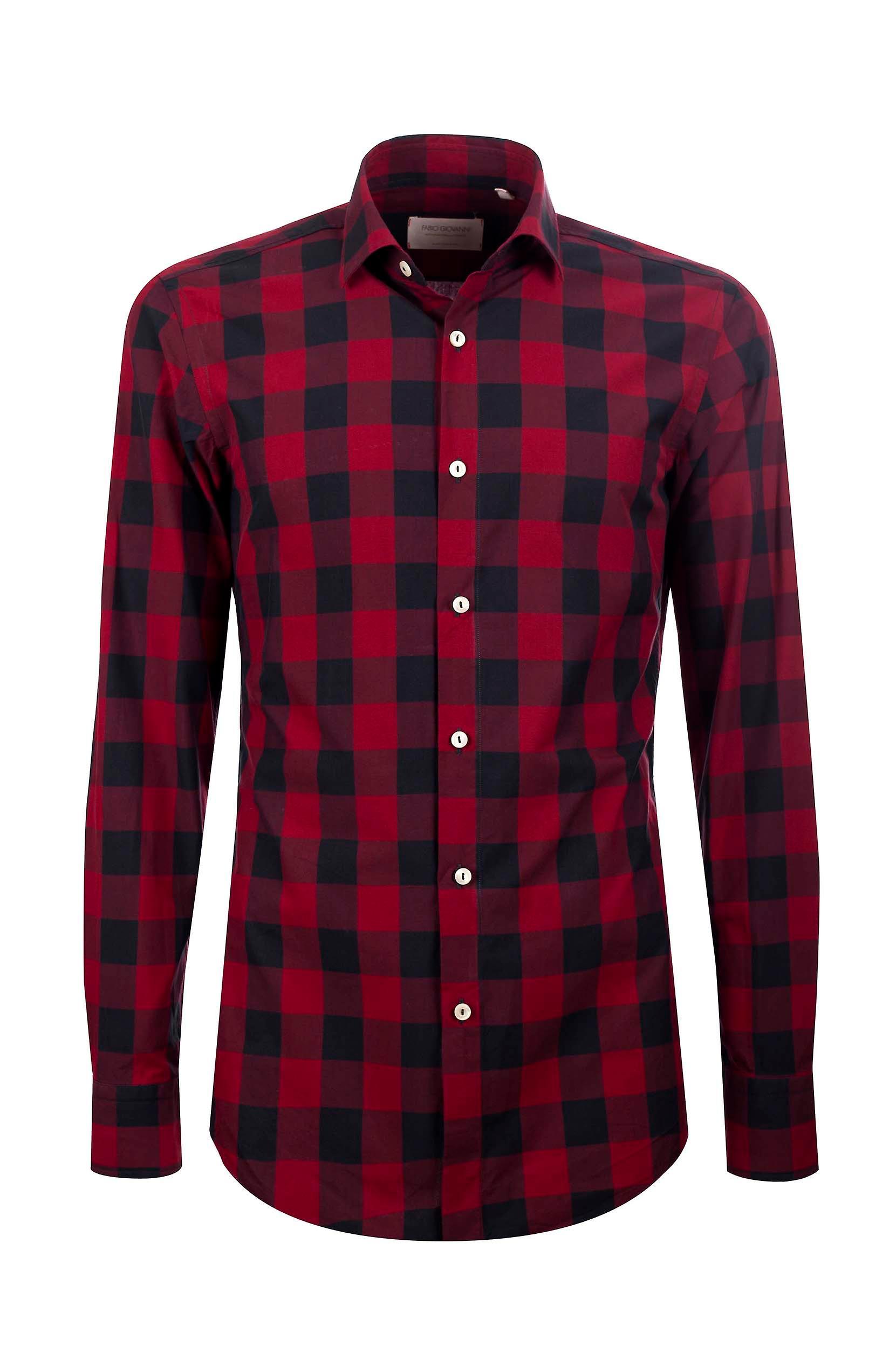 Fabio Giovanni San Carlo Shirt - italienischer Popeline-Baumwolle rot & Black Buffalo karohemd