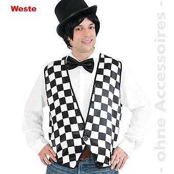 Dambord patroon mannen kostuum vest Domino zwart / wit heren kostuum kostuum