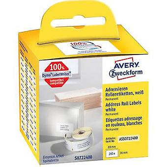Avery-Zweckform Label roll Compatible replaced DYMO, Seiko 99012, S0722400 89 x 36 mm Paper White 260 pc(s) Permanent Address labels ASS0722400