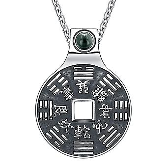 Yin Yang Lucky Coin Amulet BaGua Magic Kanji Forces of Nature Powers Simulated Onyx 18 Necklace
