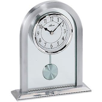 Atlanta 3030 tabel ur kvarts analog sølv med pendul og glas pendul ur