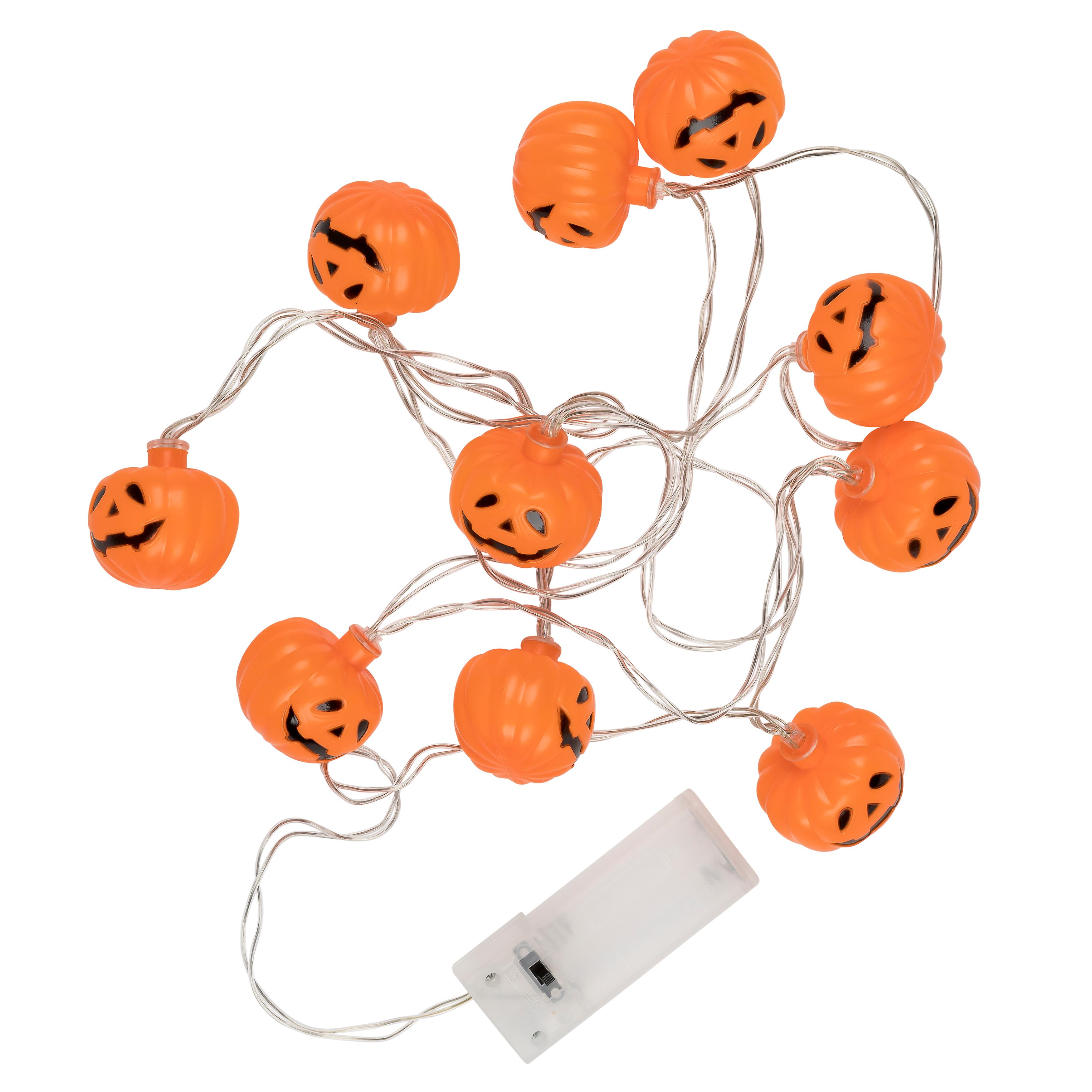 TRIXES 1 x String with 10 Pumpkin LED Lights - Battery operated Halloween Decoration
