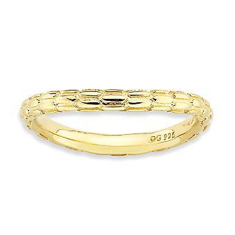 2.25mm 925 Sterling argento con motivi impilabili lucidato 14k oro placcato anello gioielli gioielli per le donne - R