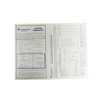 Pentair vesi-allas ja Spa tuotteen takuun rekisteröinti kortti Englanti