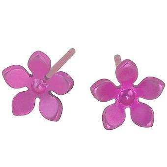 TI2 Titanium 8mm fünf Blütenblatt Ohrstecker - Candy Pink