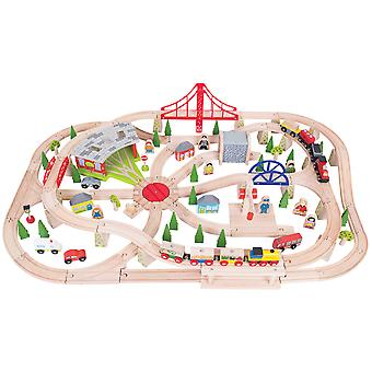 Bigjigs Rail Wooden Freight Train Track Play Set with Storage Box