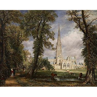 View of Salisbury Cathedral Grounds from,John Constable,50x40cm