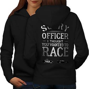 Konstaapeli Funy Race Naiset BlackHoodie takaisin | Wellcoda, mitä sinä olet?