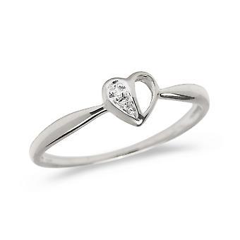 LXR 10K الذهب الأبيض خاتم القلب الماس