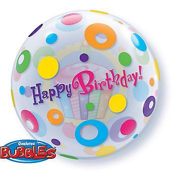 Qualatex 22 Inch Birthday Cupcakes & Dots Bubble Balloon