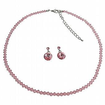 Fine sarte Rose Pink Crystal smykker bedste gave til din kærlighed