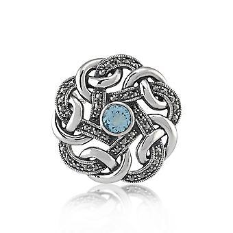 Art Nouveau Stil Runda Marcasite & Blue Topaz Celtic Style Broșă în 925 Sterling Silver 16969
