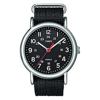 Timex T2N647 קוורץ פרק כף היד לצפות, אנלוגי, אדם, בד, שחור/שחור