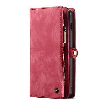 CASEME Samsung Galaxy S10 + Carteira de couro retro Case-vermelho