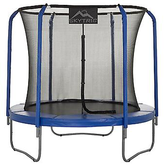 Skytric - 8 FT. Big Trampoline with Top Ring Enclosure System, Safety Net, Jumping Mat, Spring Cover Pad for Garden & Outdoor - Easy Assemble