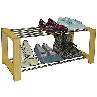 Elegante - Pino massiccio 6 coppia di scarpe Rack di stoccaggio Organizzatore - naturale