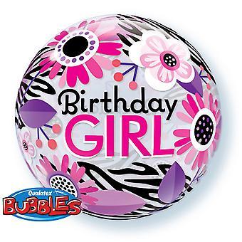 Qualatex 22 Inch Birthday Girl/Zebra Stripes Bubble Balloon