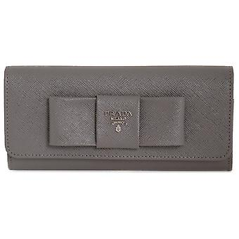 Prada Marble Saffiano Leather Flap Wallet With Bow Detail 1MH132 ZTM F0K44