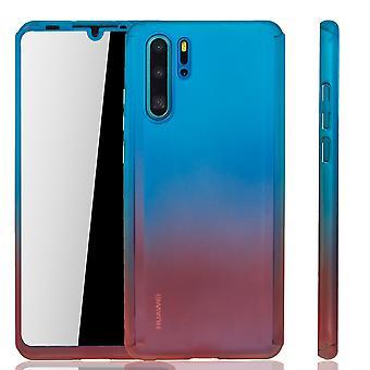 Huawei P30 Pro מקרה טלפון הגנה במקרה כיסוי מלא טנק הגנה זכוכית כחול / אדום